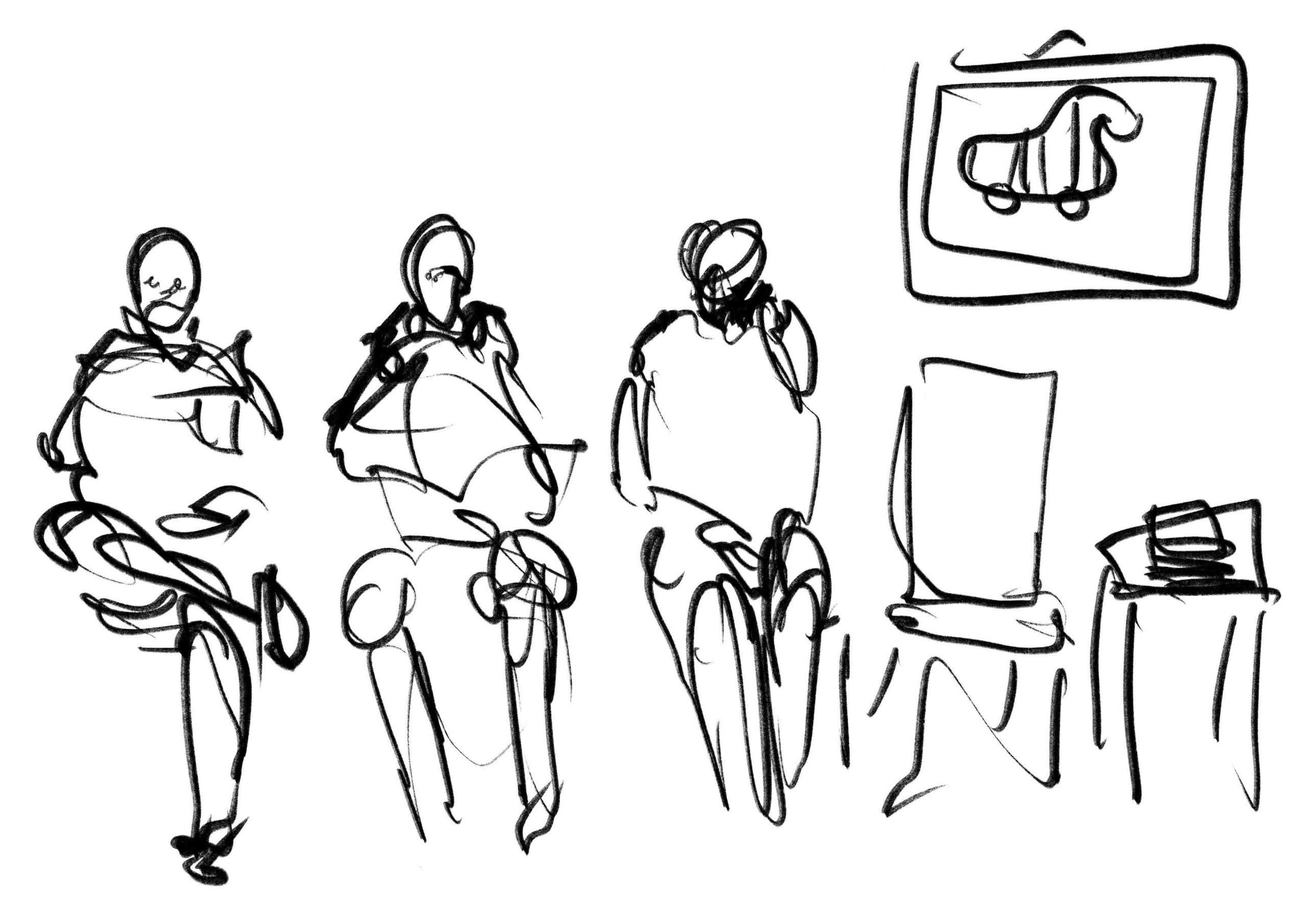 Zeichnung Toninho Dingl Warten